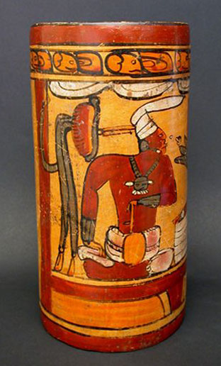 Anthropos Gallery Mayan Polychrome Cylinder Vase Pre Columbian Art